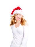 Blonde Frau in der Weihnachtsschutzkappe über Weiß Stockbilder