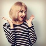 Blonde Frau des überraschenden aufgeregten Makes-up mit dem offenen Mundgestikulieren Stockbild