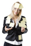 Blonde Frau des Geschäfts lächelt sie Stockbild