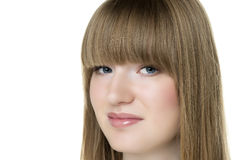 Blonde Frau des Gesichtes Stockbild