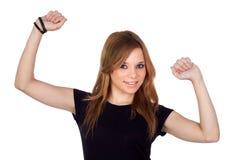 Blonde Frau des Siegers mit schwarzem Hemd Lizenzfreies Stockfoto