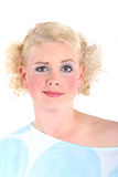 Blonde Frau, die überrascht schaut Lizenzfreies Stockbild