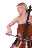 Blonde Frau, die Cello (Cellisten, spielt) Stockbilder