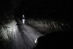Blonde Frau, die in den Scheinwerfern eines Autos bleibt Stockfotografie