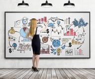 Blonde Frau, die eine bunte Geschäftsskizze zeichnet Lizenzfreie Stockbilder