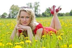 Blonde Frau, die in einer Wiese liegt Stockfotos