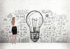Blonde Frau, die Glühlampe zeichnet Lizenzfreies Stockfoto