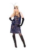 Blonde Frau, die im Kleid aufwirft Lizenzfreie Stockfotos