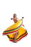 Blonde Frau, die mexikanischen Tanz durchführt Lizenzfreies Stockbild
