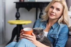 Blonde Frau, die Rest mit ihrer britischen Katze hat Stockbilder