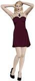 Blonde Frau, die schönes rotes Kleid trägt Stockfoto