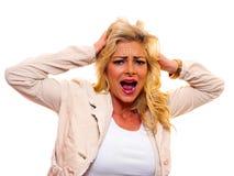 Blonde Frau, die verrückt geht Lizenzfreies Stockbild