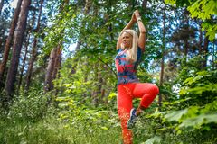 Blonde Frau, die Yoga im Wald tut Lizenzfreies Stockfoto