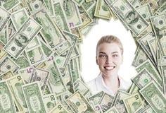 Blonde Frau in einem Dollarrahmen Lizenzfreie Stockfotos