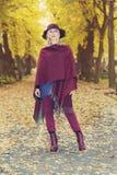 Blonde Frau in einem Park im Herbst Stockfotos