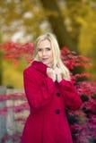 Blonde Frau in einem Park im Herbst Stockfotografie