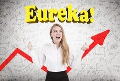 Blonde Frau, Eureka, rotes Diagramm Lizenzfreie Stockfotografie