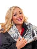 Blonde Frau gekleidet für Winter Lizenzfreies Stockbild