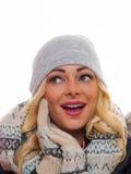 Blonde Frau gekleidet für Winter Stockbilder