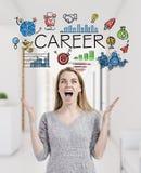Blonde Frau glücklich über ihre Berufswahl Stockbild