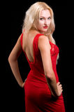 Blonde Frau im Abendkleid Stockbild