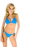 Blonde Frau im blauen Bikini Stockbilder