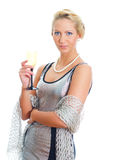 Blonde Frau im Partykleid Stockbilder