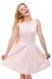 Blonde Frau im rosa Kleid lokalisiert Lizenzfreie Stockbilder