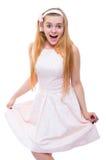 Blonde Frau im rosa Kleid lokalisiert Stockbild