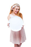 Blonde Frau im rosa Kleid lokalisiert Lizenzfreies Stockbild