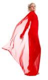 Blonde Frau im roten Gewebe Stockfotografie