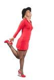 Blonde Frau im roten Kleid Stockfotografie