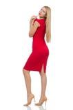 Blonde Frau im Scharlachrot Kleid Stockfotos