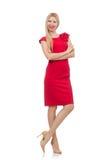 Blonde Frau im Scharlachrot Kleid Lizenzfreies Stockfoto