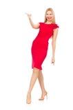 Blonde Frau im Scharlachrot Kleid Stockbilder