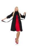Blonde Frau im Scharlachrot Kleid lokalisiert auf dem Weiß Lizenzfreie Stockfotos