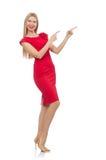 Blonde Frau im Scharlachrot Kleid lokalisiert auf dem Weiß Lizenzfreie Stockfotografie