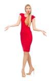 Blonde Frau im Scharlachrot Kleid lokalisiert auf dem Weiß Lizenzfreies Stockfoto