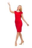 Blonde Frau im Scharlachrot Kleid lokalisiert auf dem Weiß Lizenzfreie Stockbilder