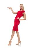 Blonde Frau im Scharlachrot Kleid lokalisiert auf dem Weiß Stockfoto