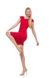 Blonde Frau im Scharlachrot Kleid lokalisiert auf dem Weiß Stockfotos