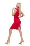 Blonde Frau im Scharlachrot Kleid lokalisiert auf Weiß Lizenzfreies Stockbild