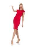 Blonde Frau im Scharlachrot Kleid lokalisiert auf Weiß Lizenzfreie Stockfotografie