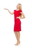 Blonde Frau im Scharlachrot Kleid lokalisiert auf Weiß Stockfoto