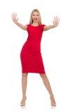 Blonde Frau im Scharlachrot Kleid lokalisiert auf Weiß Stockbilder