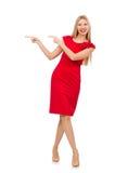 Blonde Frau im Scharlachrot Kleid lokalisiert auf Weiß Lizenzfreie Stockbilder
