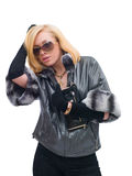 Blonde Frau im stilvollen sunglasse Lizenzfreie Stockbilder