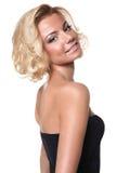 Blonde Frau lokalisiert auf weißem Hintergrund Stockfotos