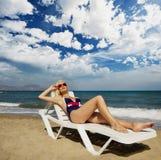 Blonde Frau in Meer. Lizenzfreies Stockbild
