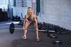 Blonde Frau mit Barbell in einer Turnhalle Stockfotos